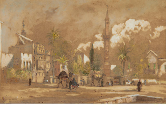 Henry Pilleau (British, 1813-1899) View of Cairo, together with another watercolour by the same hand depicting the Colossi of Memnon at Thebes, with a view of the Nile in the distance. (2)
