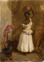 Follower of Agustin Brunais (Italian, 1730-1796) The naughty parrot. Together with three similar works by the same hand. (4)