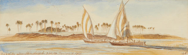 Edward Lear (British, 1812-1888) View of the Nile, Egypt