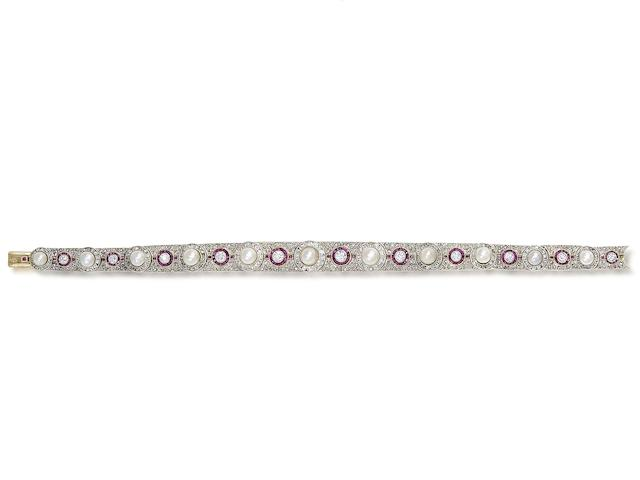 A pearl, ruby and diamond bracelet, by Koch,