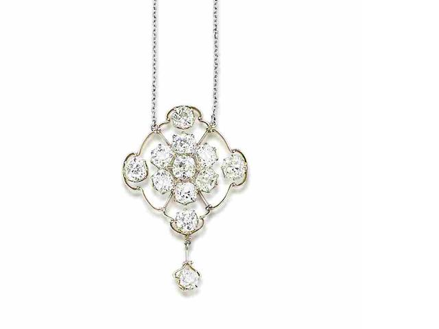 A diamond pendant,