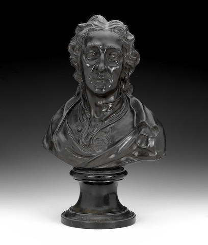 A Wedgwood black basalt bust of John Locke, circa 1780-90