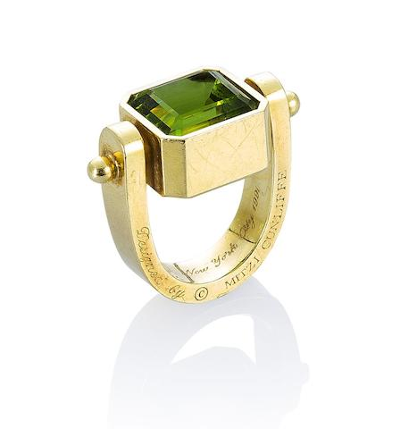 A peridot and gold ring, by Mitzi Cunliffe for Cartier,
