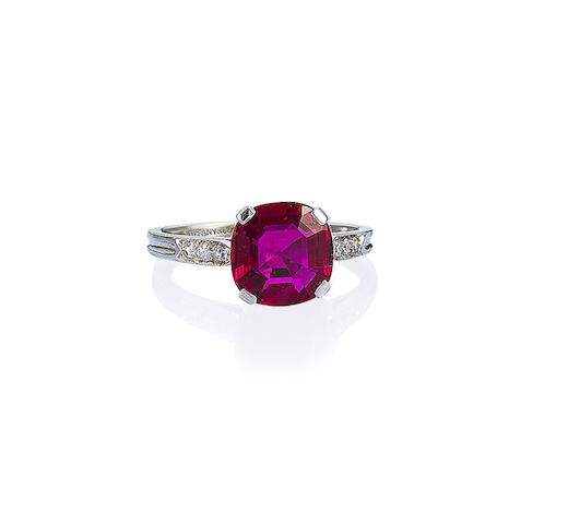 A ruby and diamond ring, by Tiffany & Co,