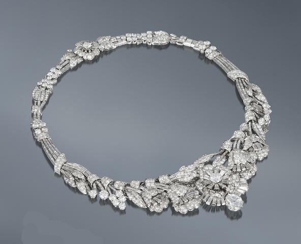 A diamond tiara/necklace/bracelet combination,