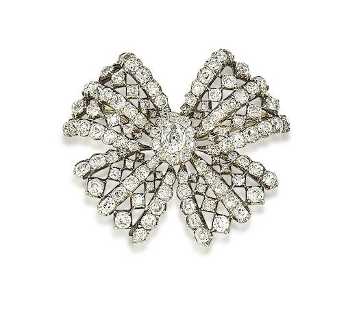 An early 19th century diamond bow brooch, known as 'The Leinster Brooch'