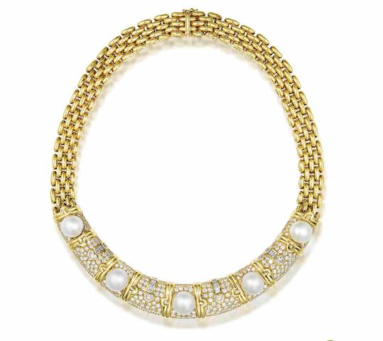 A cultured pearl and diamond collar necklace