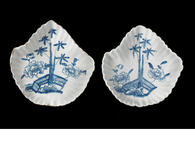 A pair of early Bow leaf shaped pickle dishes, circa 1750-52