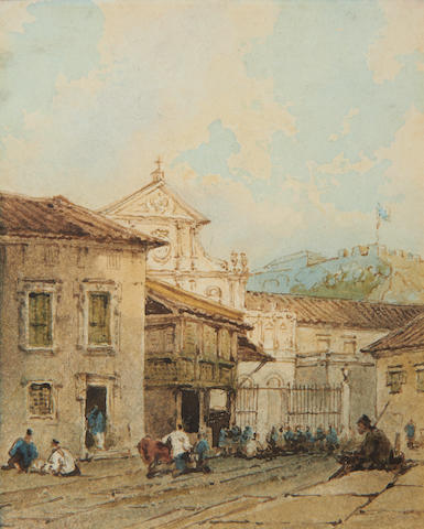 George Chinnery RHA (British, 1774-1852) A street scene near São Domingos church, Macau