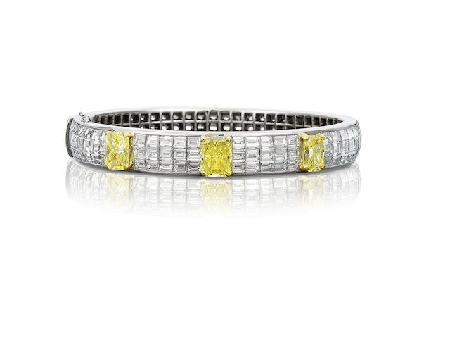 A fancy-coloured diamond and diamond hinged bangle, by Graff