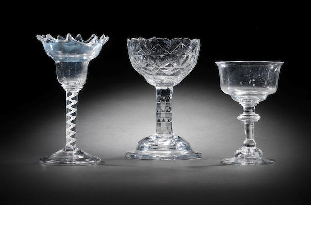 Three various sweetmeat glasses, circa 1740-70