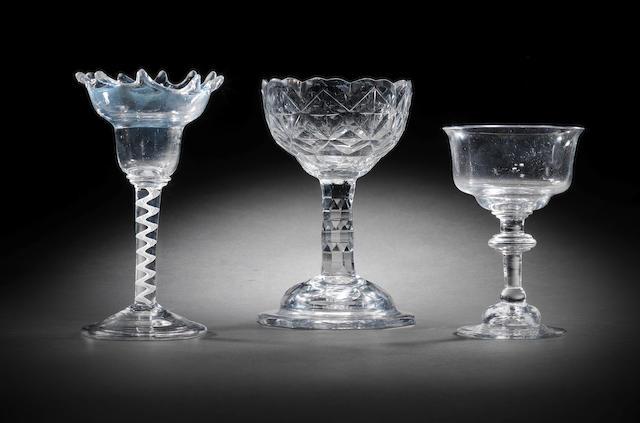 Three various sweetmeat glasses, circa 1740-70