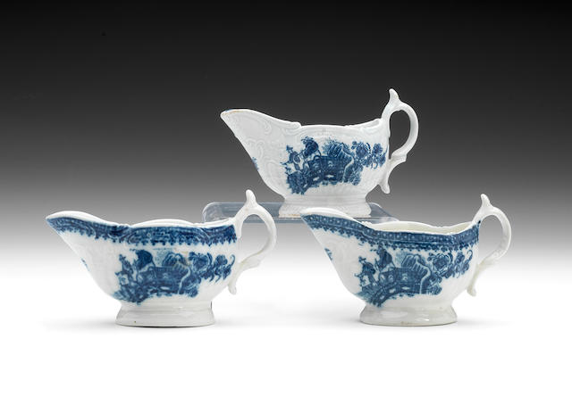 Three rare Caughley creamboats, circa 1780-90