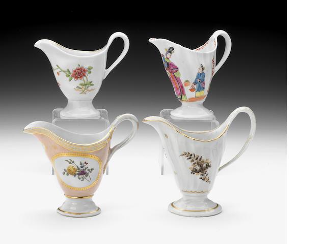 Four Chamberlain  milk jugs, circa 1795-1800