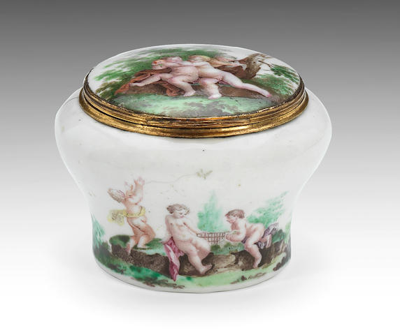 An interesting enamel snuff box, probably London, circa 1750