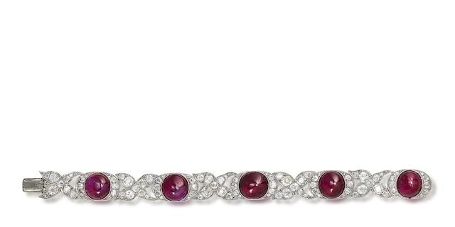An art deco ruby and diamond bracelet,