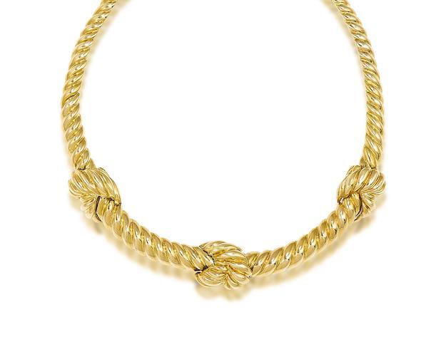 A fancy-link necklace, by David Webb,