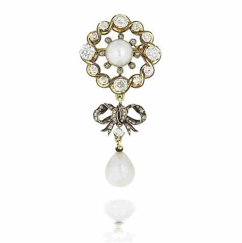 An early 20th century gold, enamel, natural pearl and diamond brooch