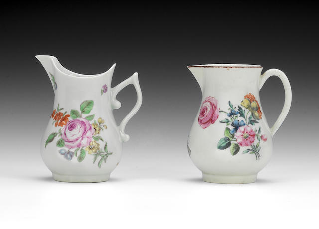 Two Worcester cream jugs, circa 1755-60