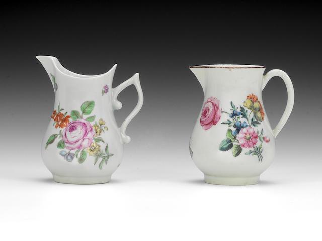 Two Worcester cream jugs, circa 1755-60