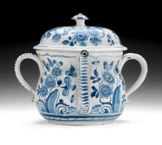 A good English Delftware posset pot and cover, circa 1720
