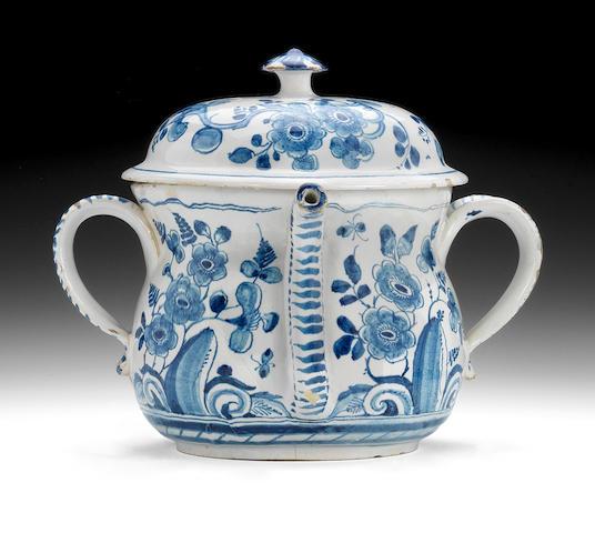 A good English Delftware posset pot and cover, circa 1720