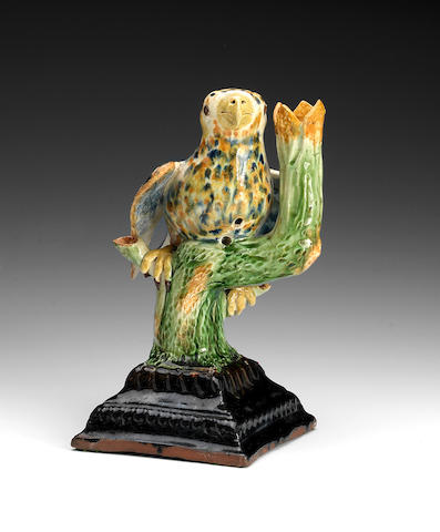 A rare naive English Pottery model of a bird, late 18th century