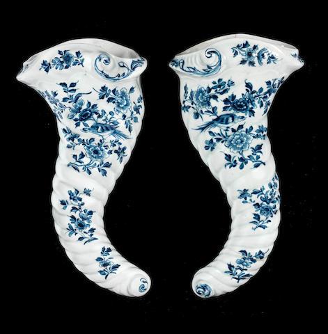 A rare pair of Worcester cornucopias, circa 1755-60