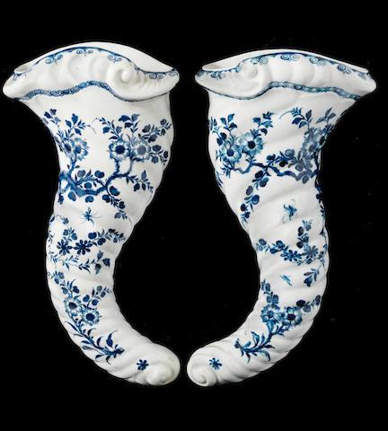 A pair of Worcester cornucopias, circa 1756-60