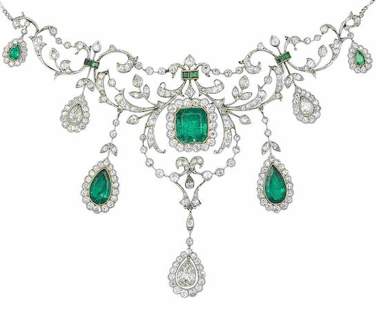A belle époque emerald and diamond necklace,