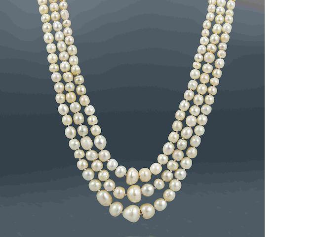 A three-row natural pearl necklace