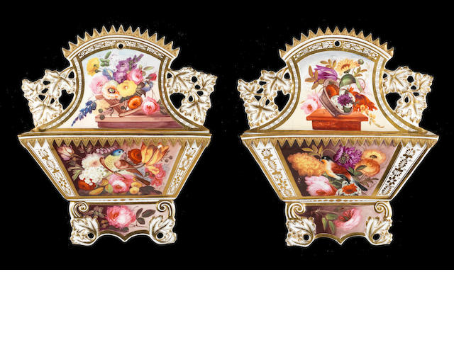 A good pair of Coalport letter racks, circa 1820