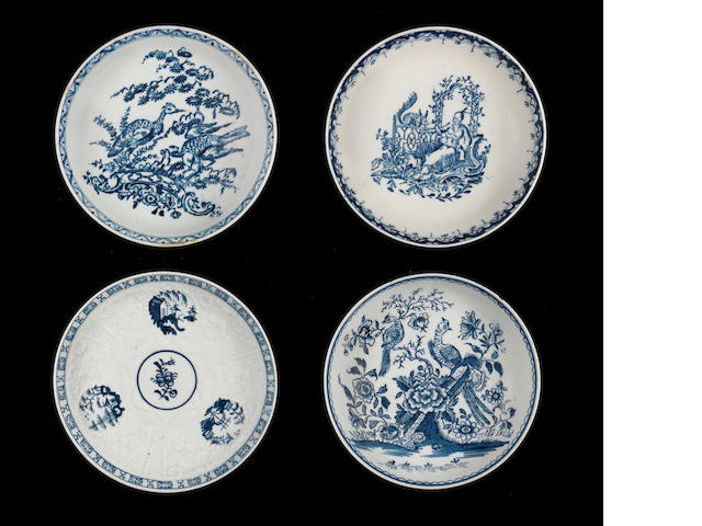 Four Lowestoft saucers, circa 1764-1780