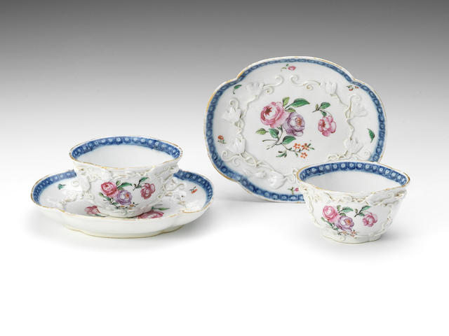 Two Chinese teabowls and saucers decorated in England, circa 1755-60