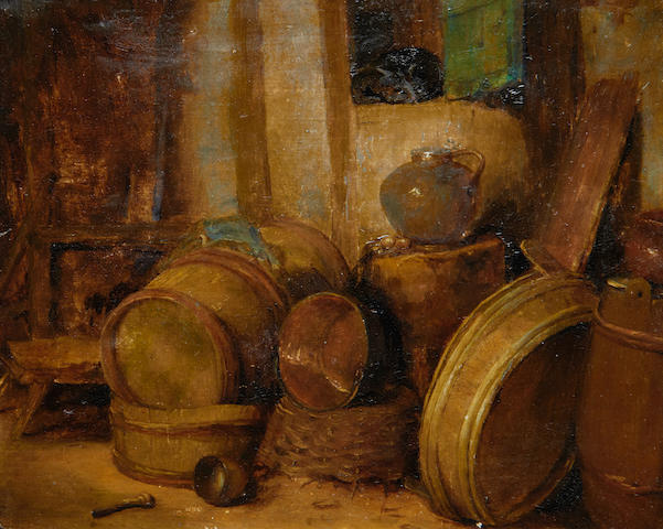 Still life in stable – oil, 19th Century
