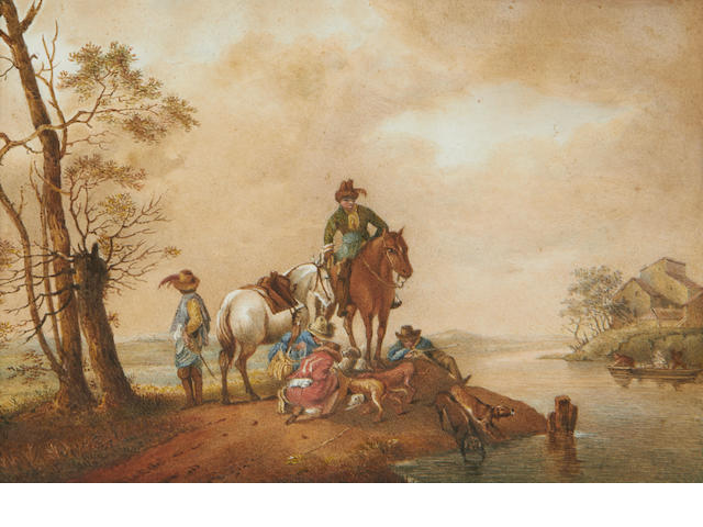 Hunting scene – watercolour on paper, 19th Century