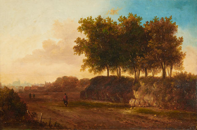 British School, 19th Century Figures in a landscape, a town beyond