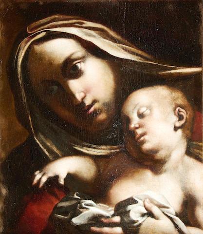 Lombardy School Madonna & Child in oil circa 1590 in original frame