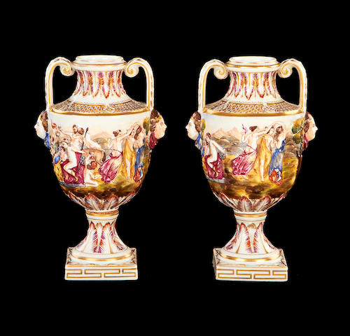 A small pair of 19th century Neapolitan ceramic urns