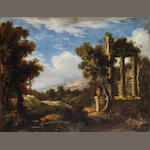 A Landscape with classical ruins, French school, late 17th century