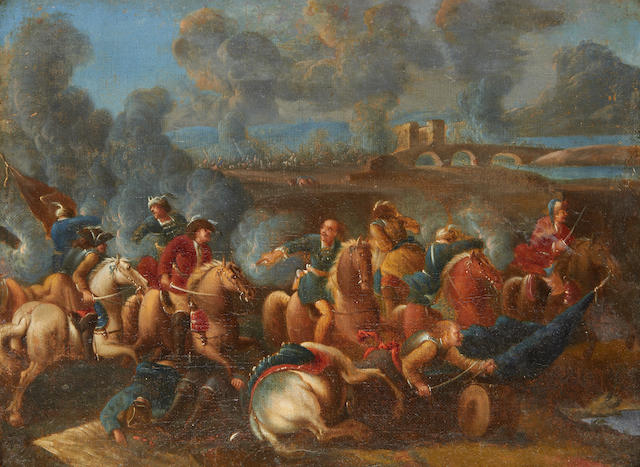 Pair of battle scenes against the Turks, attributed to Giovanni Luigi Rocco, first half of the 18th Century (see invoice)