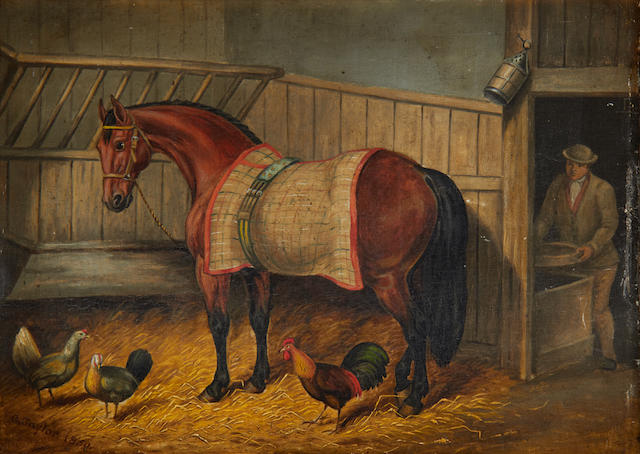 British School Horses in stables (pair)
