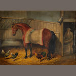 Pair of oils, horses in stables, signed Taylor 1849 / 1859