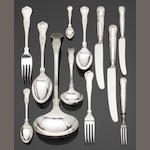 A silver King's pattern table service of flatware and cutlery by J B Chatterley & Sons Ltd, Sheffield 1979