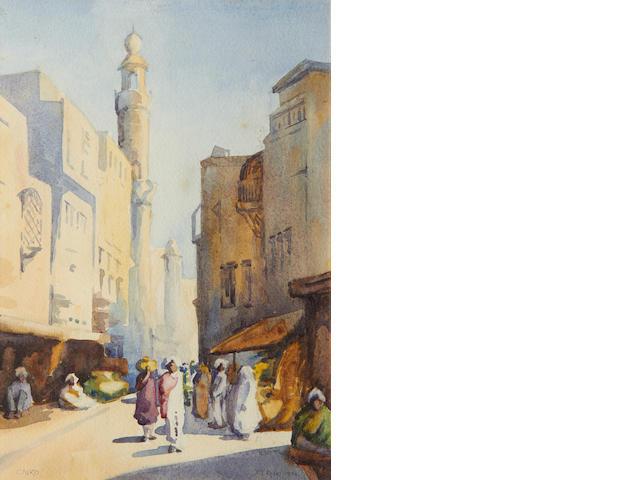 David Thomas Rose (British, ?-1938) Street scene, Cairo