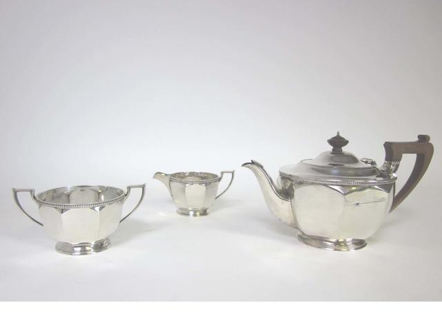 A  silver three-piece tea service by Harrison Bros & Howson, Sheffield 1937 / 38