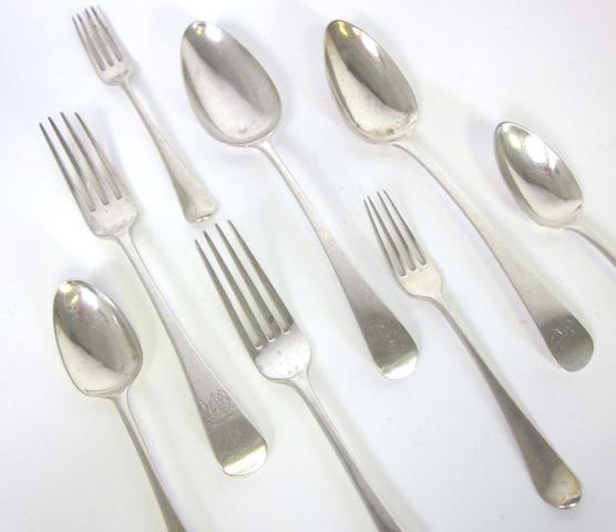 A mixed quantity of George III/IV Old English pattern silver flatware various dates and maker's  (Qty)