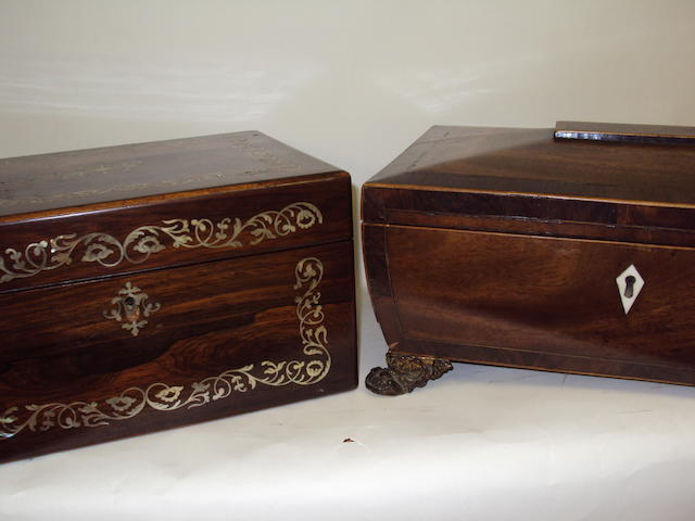 A sewing box and a writing box