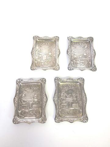 Four Victorian silver novelty 'Punch' magazine pin trays by A & J Zimmerman Ltd, Birmingham, 1896-99  (9)