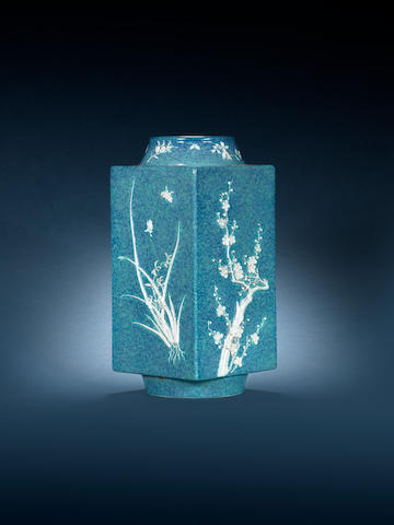 An unusual robin's-egg-glazed square vase, cong Guangxu